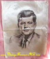 Image for Kennedy (JFK/John F. Kennedy) Vintage 1960s Artist-signed, Hand-colored Silkscreen Etching Print  <b><span style='color:red'>*****FIRST CLASS MAIL SHIPPING INCLUDED – DOMESTIC ORDERS ONLY!*****</span></b><span style='color:purple'>