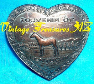 "Image for Kentucky Derby-themed ""Souvenir of Kentucky"" Trinket Box Heart-shaped Horse Design Silver Metal Hinged Vintage Occupied Japan ca 1945/1947-1952   <b><span style='color:red'>***USPS FIRST CLASS SHIPPING INCLUDED – DOMESTIC ORDERS ONLY!***</span></b><span style='color:purple'>"