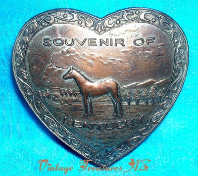 "Image for <b><span style='color:purple'>  Kentucky Derby-themed ""Souvenir of Kentucky"" Trinket Box Heart-shaped Horse Design Silver Metal Hinged Vintage Occupied Japan ca 1945/1947-1952 </span></b><span style='color:purple'>   <b><span style='color:red'>***USPS FIRST CLASS SHIPPING INCLUDED – DOMESTIC ORDERS ONLY!***</span></b><span style='color:purple'>"
