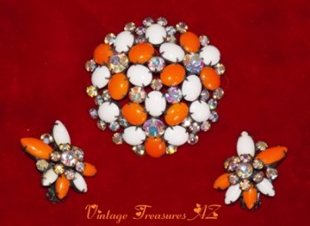 Image for <b><span style='color:purple'>    Kramer Milk Glass and Rhinestones Orange and White Brooch/Pin and Earrings Vintage Costume Jewelery Set </span></b><span style='color:purple'>   <b><span style='color:red'>***USPS FIRST CLASS SHIPPING INCLUDED – DOMESTIC ORDERS ONLY!***</span></b><span style='color:purple'>