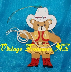 Image for Kurt S Adler Western Cowgirl Teddy Bear Lasso/Rope Wooden Ornament Vintage 1989 Christmas Tree Holiday Decoration  <b><span style='color:red'> USPS FIRST CLASS SHIPPING INCLUDED – DOMESTIC ORDERS ONLY! </span></b><span style='color:purple'>