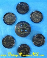 Image for Lake Tahoe California Vintage ca 1950s Souvenir Black Lacquered Coasters & Decorative Storage Container Set  <b><span style='color:red'>  *****PRIORITY MAIL SHIPPING INCLUDED – DOMESTIC ORDERS ONLY!*****  </span></b><span style='color:purple'>