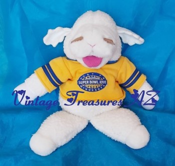 Image for <b><span style='color:purple'> Baby Lamb Chop Shari Lewis Hand Puppet Host to Super Bowl XXVI Minnesota Football Stadium Souvenir Commemorative Plush Stuffed Animal Toy Vintage 1992 </span></b><span style='color:purple'>    <b><span style='color:red'> USPS PRIORITY MAIL SHIPPING INCLUDED – DOMESTIC ORDERS ONLY!</span></b><span style='color:purple'>