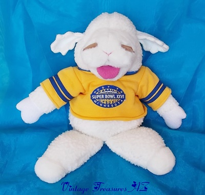 Image for <b><span style='color:purple'> Baby Lamb Chop Shari Lewis Hand Puppet Host to Super Bowl XXVI Minnesota Football Stadium Souvenir Commemorative Plush Stuffed Animal Toy Vintage 1992 </span></b><span style='color:purple'>    <b><span style='color:red'> ***USPS PRIORITY MAIL SHIPPING INCLUDED – DOMESTIC ORDERS ONLY!***</span></b><span style='color:purple'>