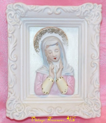 "Image for <b><span style='color:purple'> Lefton Japan Vintage 1946-1953 ""Madonna/Holy Mother/Blessed Virgin Mary with Praying Hands"" 3-dimensional Christian Religion Catholic Faith Wall Plaque </span></b><span style='color:purple'>    <b><span style='color:red'>***USPS PRIORITY MAIL SHIPPING INCLUDED – DOMESTIC ORDERS ONLY!***</span></b><span style='color:purple'>"