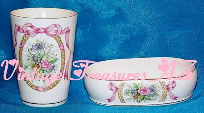 Image for Lefton China #KW4215 Bathroom Vanity/Sink Accessories Set Porcelain Soap Dish & Drinking Cup/Tumbler Floral/Flowers Wreath/Garland Bow Ribbons Gilt Vintage 1955-1990s    <b><span style='color:red'>***USPS PRIORITY MAIL SHIPPING INCLUDED – DOMESTIC ORDERS ONLY!***</span></b><span style='color:purple'>