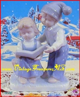 "Image for Lego Japan ""Boy& Girl Reading a Book"" Figurine/Sculpture Vintage ca 1960s-1970s   <b><span style='color:red'>*****PRIORITY MAIL SHIPPING INCLUDED – DOMESTIC ORDERS ONLY!*****</span></b><span style='color:purple'>"