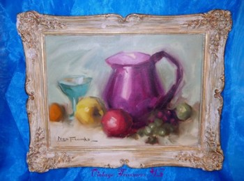 "Image for <b><span style='color:purple'> Leon Franks Vintage Framed Original Still Life Canvas Painting ""Fruits, Goblet & Jug"" </span></b><span style='color:purple'>   <b><span style='color:red'>*****GROUND SHIPPING INCLUDED – DOMESTIC ORDERS ONLY!*****</span></b><span style='color:purple'>"