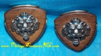 Image for Lions'/Lion Heads/Faces 3-Dimensional, Raised Relief Oversized Triangular-shaped Wooden Backdrop Vintage Men's Cufflinks/Cuff Links Set <b><span style='color:red'>  *****FIRST CLASS SHIPPING INCLUDED – DOMESTIC ORDERS ONLY!*****  </span></b><span style='color:purple'>
