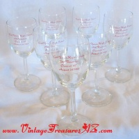 "Image for Lodi Union High School 1985 25th Reunion ""Class of 1960"" Vintage 1985 Wine Glasses Set of 7. <b><span style='color:red'>  *****PARCEL POST SHIPPING INCLUDED – DOMESTIC ORDERS ONLY!*****  </span></b><span style='color:purple'>"