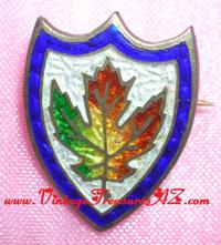 Image for Maple Leaf Escutcheon-design Sterling Silver & Colorful Enamel Antique ca 1800s (Victorian-era or older) Lapel Pin/Pinback (Pin Back)    <b><span style='color:red'>*****FIRST CLASS SHIPPING INCLUDED – DOMESTIC ORDERS ONLY!*****</span></b><span style='color:purple'>