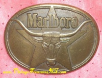 Image for Marlboro Bull-Steer 5-Pointed Texas Star Logo Vintage 1987 Solid Brass Cowboy Belt Buckle <b><span style='color:red'>*****SHIPPING INCLUDED – DOMESTIC ORDERS ONLY!*****  </span></b><span style='color:purple'>
