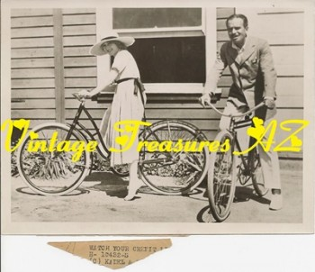 Image for <b><span style='color:purple'>   Mary Pickford and Douglas Fairbanks Sr. Kadel & Herbert News Service Vintage 1910s-1920s Candid Photograph H-10432-S (Riding Bicycles/Bike Riding) </span></b><span style='color:purple'>  <b><span style='color:red'>USPS FIRST CLASS SHIPPING INCLUDED – DOMESTIC ORDERS ONLY!</span></b><span style='color:purple'>