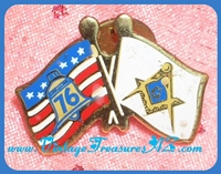 Image for Masonic Square & Compass Flag AND American Bicentennial '76 Liberty Bell Commemorative Flag Pin/Pinback (Dual Flags Intertwined)    <b><span style='color:red'>*****FIRST CLASS SHIPPING INCLUDED – DOMESTIC ORDERS ONLY!*****</span></b><span style='color:purple'>