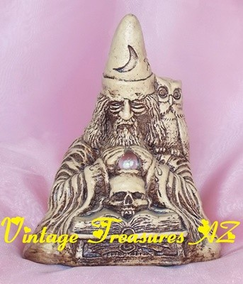 "Image for <b><span style='color:purple'> Matchless Grove Co. Jason Christoble Wizard Warlock Sorcerer ""Orion"" Wyndshire Clay Stoneware Figural Candleholder/Candle Holder Sculpture Pentagram Base Crystal Ball Owl Skull Books Vintage 1981 </span></b><span style='color:purple'>  <b><span style='color:red'>USPS RETAIL GROUND SHIPPING INCLUDED – DOMESTIC ORDERS ONLY!</span></b><span style='color:purple'>"