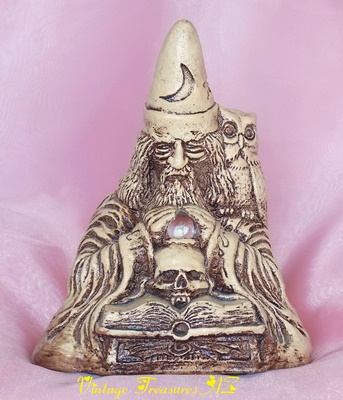 "Image for <b><span style='color:purple'> Matchless Grove Co. Jason Christoble Wizard Warlock Sorcerer ""Orion"" Wyndshire Clay Stoneware Figural Candleholder/Candle Holder Sculpture Pentagram Base Crystal Ball Owl Skull Books Vintage 1981 </span></b><span style='color:purple'>  <b><span style='color:red'>***USPS RETAIL GROUND SHIPPING INCLUDED – DOMESTIC ORDERS ONLY!***</span></b><span style='color:purple'>"