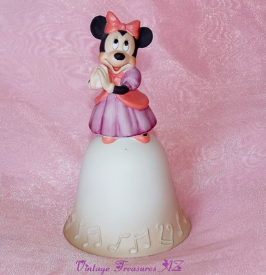 Image for <b><span style='color:purple'> Minnie Mouse Ceramic Bell Vintage 1970s/1980s Theme Parks Exclusive Disneyland & Walt Disney World Walt Disney Productions Figurine Finial </span></b><span style='color:purple'>  <b><span style='color:red'>*****USPS PRIORITY MAIL SHIPPING INCLUDED – DOMESTIC ORDERS ONLY!*****</span></b><span style='color:purple'>