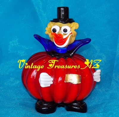"Image for <b><span style='color:purple'> Murano Glass Red Melon/Pumpkin Clown Figurine/Sculpture/Statue Vintage 1950s-1960s Original ""Vetro Artistico Veneziano...Made in Murano"" Foil Label </span></b><span style='color:purple'>  <b><span style='color:red'>***USPS PRIORITY MAIL SHIPPING INCLUDED – DOMESTIC ORDERS ONLY!***</span></b><span style='color:purple'>"