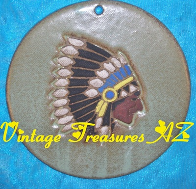 Image for N C Mead Native American Indian Chieftain Feathered Headdress Southwestern Artist-signed Decorative Round Wall Tile/Plaque Vintage 1970s-1990s  <b><span style='color:red'>USPS PRIORITY MAIL SHIPPING INCLUDED – DOMESTIC ORDERS ONLY!</span></b><span style='color:purple'>