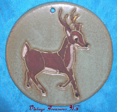 Image for <b><span style='color:purple'>   N C Mead Santa's Reindeer Christmas Holidays/Wildlife-themed Artist-signed Decorative Round Wall Tile/Plaque Vintage 1970s-1990s Prancing Buck </span></b><span style='color:purple'>  <b><span style='color:red'>***USPS PRIORITY MAIL SHIPPING INCLUDED – DOMESTIC ORDERS ONLY!***</span></b><span style='color:purple'>