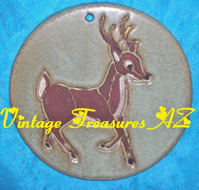 Image for N C Mead Santa's Reindeer Christmas Holidays/Wildlife-themed Artist-signed Decorative Round Wall Tile/Plaque Vintage 1970s-1990s Prancing Buck  <b><span style='color:red'>USPS PRIORITY MAIL SHIPPING INCLUDED – DOMESTIC ORDERS ONLY!</span></b><span style='color:purple'>