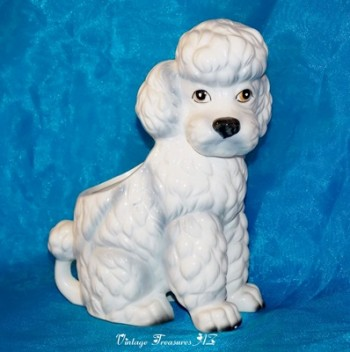 Image for <b><span style='color:purple'>   Nancy Pew Giftwares Co. White French Poodle Dog Figural Planter Statue Vintage ca 1950s-1970s  </span></b><span style='color:purple'>    <b><span style='color:red'>***USPS PRIORITY MAIL SHIPPING INCLUDED – DOMESTIC ORDERS ONLY!***</span></b><span style='color:purple'>