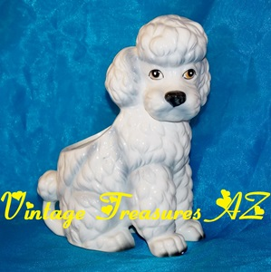 Image for Poodle Nancy Pew Giftwares Co. Vintage ca 1950s-1970s White Dog Figural Planter Statue  <b><span style='color:red'>  *****PRIORITY MAIL SHIPPING INCLUDED – DOMESTIC ORDERS ONLY!*****  </span></b><span style='color:purple'>