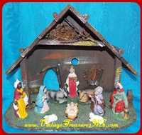 "Image for Nativity Scene ""Made in Italy"" Creche/Stable & 10 Frozen/Fixed-in-Place Religious Biblical Figurines/Figures Christmas Holiday Tabletop/Mantel Display Vintage Set    <b><span style='color:red'>*****STANDARD (PARCEL) POST SHIPPING INCLUDED – DOMESTIC ORDERS ONLY!*****</span></b><span style='color:purple'>"