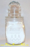 Image for Olympics 1992 Albertville, France Winter & Barcelona, Spain Summer Snickers Glass Candy Jar w/ Flaming Olympic Torch-design Lid   <b><span style='color:red'>*****PRIORITY MAIL SHIPPING INCLUDED – DOMESTIC ORDERS ONLY!*****</span></b><span style='color:purple'>
