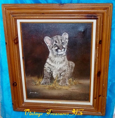 "Image for <b><span style='color:purple'>  Cougar Cub Baby ""Orphan"" Yvonne Klein Painting Framed Wildlife Animals Fine Art Realism/Realistic  </span></b><span style='color:purple'>   <b><span style='color:red'>***GROUND SHIPPING INCLUDED – DOMESTIC ORDERS ONLY!***</span></b><span style='color:purple'>"