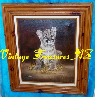 Image for Orphan Baby Cougar Cub Yvonne Klein Painting Framed Wildlife Animals Fine Art Realism/Realistic      <b><span style='color:red'>***GROUND SHIPPING INCLUDED – DOMESTIC ORDERS ONLY!***</span></b><span style='color:purple'>