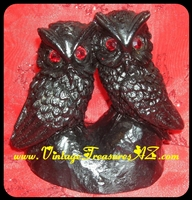 Image for Owls Pair Canoodling Black Lava & Red Jeweled Rhinestones Eyes Tiki-style Artfully Crafted Owl Bird Figurine Vintage ca 1950s-1970s   <b><span style='color:red'>*****PRIORITY MAIL SHIPPING INCLUDED – DOMESTIC ORDERS ONLY!*****</span></b><span style='color:purple'>
