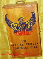 Image for Phoenix Newcomers Club Fraternal Social Organization Vintage ca 1960s-1970s RARE Name Badges Organizer Wooden Display Case (GREAT Storage Organizer for Jewelry)  <b><span style='color:red'>*****PARCEL POST SHIPPING INCLUDED – DOMESTIC ORDERS ONLY!*****</span></b><span style='color:purple'>