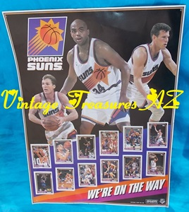 "Image for Phoenix Suns ""We're On the Way"" Topps/Circle K Limited Edition NBA Basketball Players RARE Poster/12 Collector Stickers Cards Set Vintage ca 1993   <b><span style='color:red'> USPS PRIORITY MAIL SHIPPING INCLUDED – DOMESTIC ORDERS ONLY!</span></b><span style='color:purple'>"