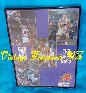 Image for Phoenix Suns The Purple Gang Framed NBA Poster Montage/Collage Vintage ca 1992-1993 Basketball Season - Featuring Team Players:  Danny Ainge, Charles Barkley, Kevin Johnson, Dan Majerle    <b><span style='color:red'> USPS STANDARD POST SHIPPING INCLUDED – DOMESTIC ORDERS ONLY!</span></b><span style='color:purple'>