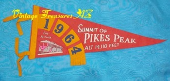 "Image for <b><span style='color:purple'> Pike's Peak Pennant Vintage 1964 ""Summit of Pikes Peak Alt. 14,100 Feet Cog Railway"" Travel Memorabilia Souvenir (Pikes Peak Cog Railway Collectible) </span></b><span style='color:purple'>     <b><span style='color:red'>***USPS PRIORITY MAIL SHIPPING INCLUDED – DOMESTIC ORDERS ONLY!***</span></b><span style='color:purple'>"