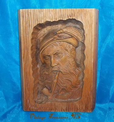 "Image for <b><span style='color:purple'> Wood Folk Art Carving ""Pipe-smoking Tyrolean/German Man"" Bavarian Hat Long-stemmed Churchwarden Pipe Vintage pre-1960s Wall Plaque/Panel Tobacco Collectible </span></b><span style='color:purple'>   <b><span style='color:red'>***USPS PRIORITY MAIL SHIPPING INCLUDED – DOMESTIC ORDERS ONLY!***</span></b><span style='color:red'>"