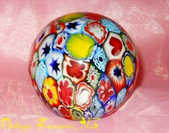 Image for <b><span style='color:purple'> Millefiori (Thousand Flowers) Motif and Playing Cards Suits (Hearts, Clubs, Spades) and Other Designs/Symbols Glass Paperweight  </span></b><span style='color:purple'>   <b><span style='color:red'>*****USPS PRIORITY MAIL SHIPPING INCLUDED – DOMESTIC ORDERS ONLY!*****</span></b><span style='color:purple'>
