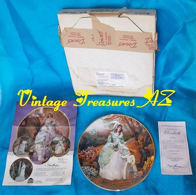 Image for Bridal Portraits of American Brides Collector Plate Elizabeth Colonial 1790s #'d Limited Edition Rob Sauber Artaffects MIB/COA Vintage 1986   <b><span style='color:red'>***USPS PRIORITY MAIL SHIPPING INCLUDED – DOMESTIC ORDERS ONLY!***</span></b><span