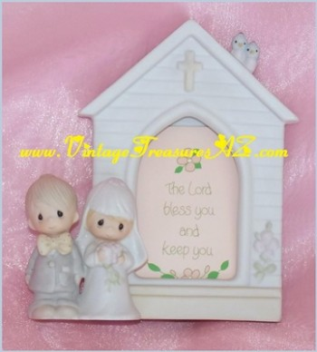 "Image for <b><span style='color:purple'> Precious Moments Bride & Groom/Wedding Couple Church Picture Frame ""The Lord Bless You and Keep You"" Ceramic Figural Jonathan & David Enesco Imports E-7166 Vintage 1981-83 Fish Mark (Suspended) (NO BOX) </span></b><span style='color:purple'>  <b><span style='color:red'>*****USPS PRIORITY MAIL SHIPPING INCLUDED – DOMESTIC ORDERS ONLY!*****</span></b><span style='color:purple'>"