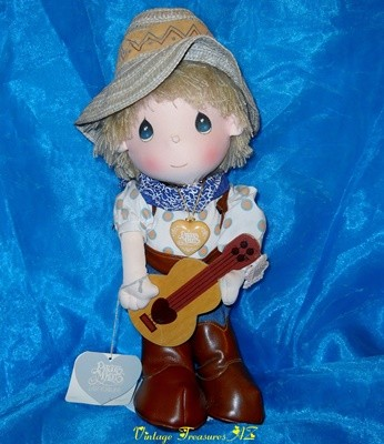 Image for <b><span style='color:purple'> Precious Moments Mickey Singing Cowboy Guitar Player Doll #4582 + Original Outfit, Accessories & Hang Tags Vintage 1986 </span></b><span style='color:purple'>    <b><span style='color:red'> ***USPS PRIORITY MAIL SHIPPING INCLUDED – DOMESTIC ORDERS ONLY!***</span></b><span