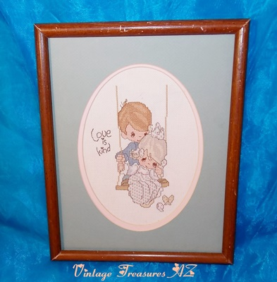 "Image for <b><span style='color:purple'>    Precious Moments ""Love Is Kind"" Cross Stitch Needlepoint Framed Picture Completed/Finished 12x16 Vintage Romantic Boy & Girl Swinging Butterflies </span></b><span style='color:purple'>  <b><span style='color:red'>***USPS PRIORITY MAIL SHIPPING INCLUDED – DOMESTIC ORDERS ONLY!***</span></b><span style='color:purple'>"