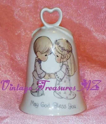 "Image for <b><span style='color:purple'> Precious Moments Enesco Wedding Bell ""May God Bless You"" Bride & Groom Motif Porcelain Vintage 1986 Japan Samuel J. Butcher-era Mint w/? Box </span></b><span style='color:purple'>   <b><span style='color:red'>*****USPS PRIORITY MAIL SHIPPING INCLUDED – DOMESTIC ORDERS ONLY!*****</span></b><span style='color:purple'>"