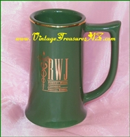 Image for RWJ Robert Wood Johnson Medical School W. C. Bunting Co. Tankard-style Forest Green Beer Stein Mug with Gilded Lettering (Like New, ca 1986 to Present)  <b><span style='color:red'>*****SHIPPING INCLUDED – DOMESTIC ORDERS ONLY!*****</span></b><span style='color:purple'>