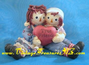 "Image for Raggedy Ann & Andy Dolls ""True Friends"" Heart-in-Hands ""I Love You"" Enesco Simon & Schuster Limited Edition Figurine #094RA322    <b><span style='color:red'>*****FIRST CLASS SHIPPING INCLUDED – DOMESTIC ORDERS ONLY!*****</span></b><span style='color:purple'>"
