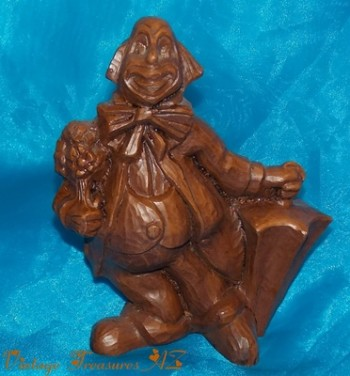 Image for <b><span style='color:purple'>  Red Mill Manufacturing (Mfg.) Clown Crushed Pecan Shells Statue/Carving/Figurine Vintage ca 1970s-1980s (Resembles Hand-carved Wood) </span></b><span style='color:purple'>  <b><span style='color:red'> USPS PRIORITY MAIL SHIPPING INCLUDED – DOMESTIC ORDERS ONLY!</span></b><span style='color:purple'>