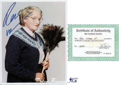 "Image for <b><span style='color:purple'> Mrs Doubtfire Robin Williams Autographed Photograph + COA Hand-signed Color Movie Still Famous ""Feather Duster"" Image (Certificate of Authenticity) </span></b><span style='color:purple'>  <b><span style='color:red'>***USPS PRIORITY MAIL SHIPPING INCLUDED – DOMESTIC ORDERS ONLY!***</span></b><span style='color:purple'>"