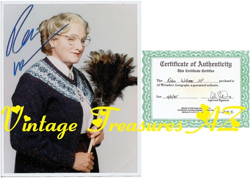 "Image for Mrs Doubtfire Robin Williams Autographed Photograph + COA Hand-signed Color Movie Still Famous ""Feather Duster"" Image (Certificate of Authenticity) <b><span style='color:red'>***USPS PRIORITY MAIL SHIPPING INCLUDED – DOMESTIC ORDERS ONLY!***</span></b><span style='color:purple'>"