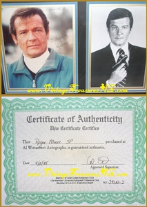 "Image for Roger Moore ""James Bond 007"" Autographed (Autograph) ""For Your Eyes Only"" Ski Scene Hand-Signed Color Photograph AND Unsigned ""Live and Let Die"" OR ""The Man with the Golden Gun"" B&W Gun-pose (? Walther PPK) Photo BOTH are Movie Still Photos (Ornately Framed-Under-Glass & Matted)   <b><span style='color:red'>*****STANDARD PARCEL POST SHIPPING INCLUDED – DOMESTIC ORDERS ONLY!*****</span></b><span style='color:purple'>"