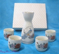 "Image for Sake Set (Bottle + 4 Cups) with ""Peacocks & Flowers"" Motif in Original Box Vintage ca 1940s-1970s Japan   <b><span style='color:red'>  *****PRIORITY MAIL SHIPPING INCLUDED – DOMESTIC ORDERS ONLY!*****  </span></b><span style='color:purple'>"